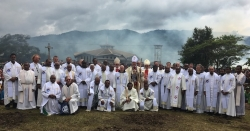 Archbishop Stephen Reichert, OFM Cap., was the principal celebrant of the Holy Mass.  Mumu smoke in the background!